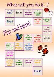 English Worksheet: board game - 1st conditional