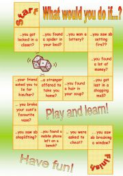 English Worksheet: board game - 2nd conditional