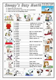 English Worksheet: Regular and Irregular - Simple Past - SNOOPY�S BUSY MONTH