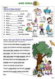 English Worksheet: WS for beginners-vocabulary, verbs-present continuous, text