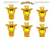 English Worksheets: Giraffe Cards (Add you own text.) Use them with my giraffe gameboard.