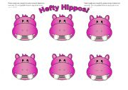 English Worksheets: Hippo Cards Pink (Add your own text)
