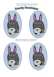 English Worksheets: Donkey Cards (Add your own text)