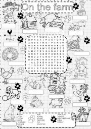 English Worksheet: wordsearch  ON THE FARM