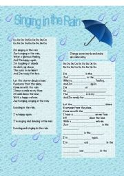 English Worksheet: Song - Singing in the Rain