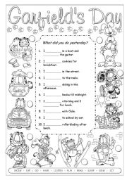 English Worksheet: What did Garfield do yesterday?