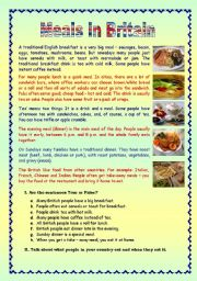 English Worksheet: Meals in Britain