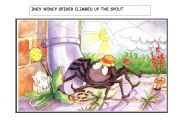 English Worksheet: Incy Wincy Spider Story Flashcards (1 of 2)