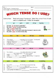 Which Tense Do I Use? (2 pages) VERB TENSES #1