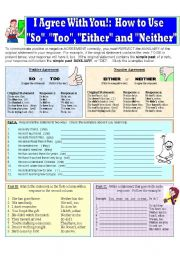 English Worksheets: Pronouns of Agreement:  So, Too, Either and Neither