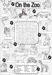 wordsearch ZOO ANIMALS