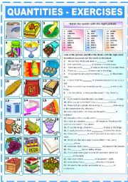 English Worksheet: EXPRESSIONS OF QUANTITY - EXERCISES