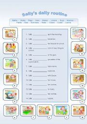 English Worksheet: Sally�s Daily Routine + Verbs