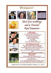 English Worksheet: four weddings and a funeral webquest