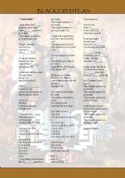 English Worksheets: I gotta a feelin, Black Eyed Peas