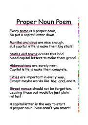 english worksheet proper noun poem. Black Bedroom Furniture Sets. Home Design Ideas