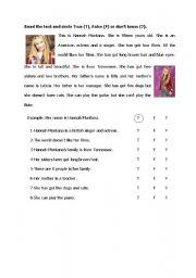 English Worksheets: Hannah Montana- Reading true-false