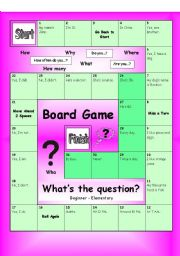 English Worksheet: Board Game - What�s the Question? (Easy)