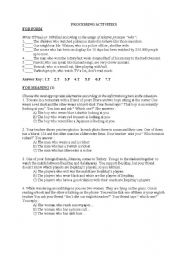 English Worksheets: processing activities