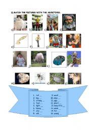 English worksheet: match adjectives
