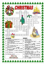 picture about Christmas Crossword Printable called Xmas crossword - ESL worksheet by way of ildibildi