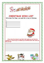 Grammar worksheets gt verbs gt wish gt christmas wish list
