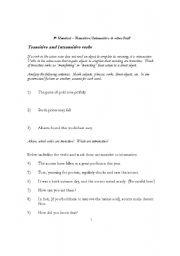 English Worksheet: Transitive & intransitive