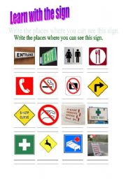 English Worksheets: learn with the signs