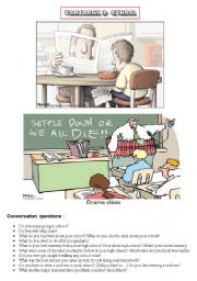 HANDY THEMATIC COLLECTION of cartoons, vocabulary, conversation questions and essay topics Part 3 - SCHOOL