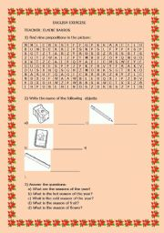 English worksheet: SCHOOL OBJECTS AND SEASON OF THE YEAR