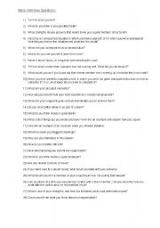 English Worksheets: Mock Interview Questions
