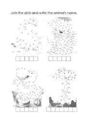 English Worksheets: Animals - join the dots