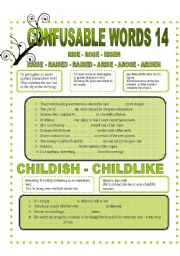 CONFUSABLE WORDS 14-RISE-RAISE-ARISE-CHILDISH-CHILDLIKE-ADVICE-ADVISE-CONSULT