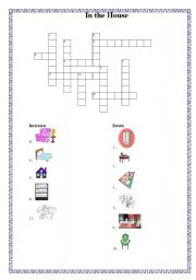 English Worksheet: Crossword: In the House