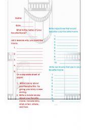 English Worksheets: Movie Grammar and writing activity