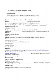 ESL Worksheet – Fill in the blanks dialogue from ´Friends´ - ESL