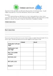 English worksheets: Oobleck and Glurch Student Sheet