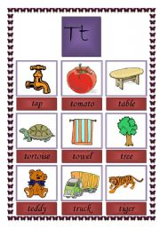 Picture dictionary letter t ( TWO PAGES)