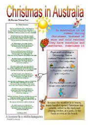 christmas in australia esl worksheet by manjas