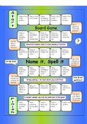 English Worksheet: Board Game - Name it, Spell it  (Easy)