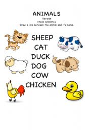 English Worksheets: Farm Animals match up