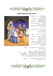 The little drummer boy, christmas fill in activity