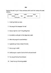 English Worksheets: To get