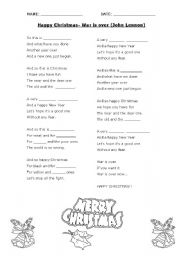 Happy Christmas War Is Over John Lennon Song Esl Worksheet By Cristina Cabanellas