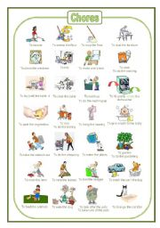 English Worksheet: Chores: a pictionary (fully editable)