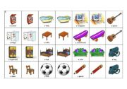 English worksheet: memory game - pieces of furniture and items to be found in a child´s room