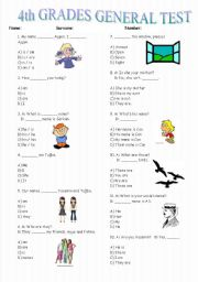 English Worksheets: 4th Grades Test  -75 Questions (Part 1)