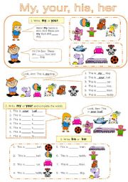 English Worksheet: Possessive adjectives and pronouns (3 pages)