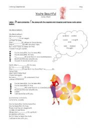 English Worksheet: You�re Beautiful by James Blunt