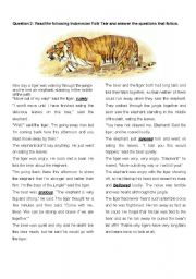 English Worksheets: How did the tiger get his long tail?